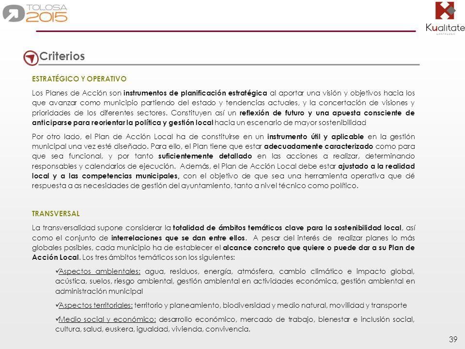 Criterios ESTRATÉGICO Y OPERATIVO