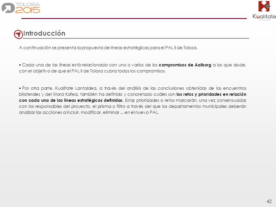 IntroducciónA continuación se presenta la propuesta de líneas estratégicas para el PAL II de Tolosa.