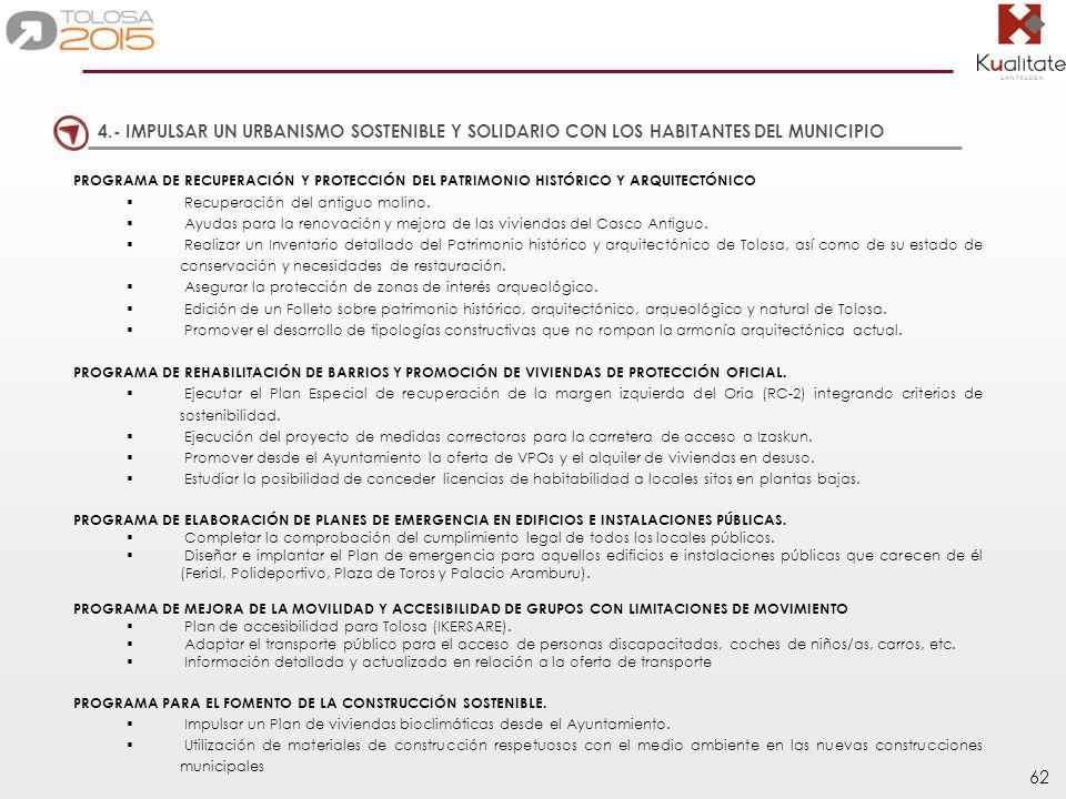 4.- IMPULSAR UN URBANISMO SOSTENIBLE Y SOLIDARIO CON LOS HABITANTES DEL MUNICIPIO