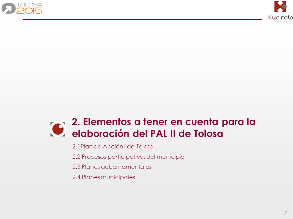 2. Elementos a tener en cuenta para la elaboración del PAL II de Tolosa