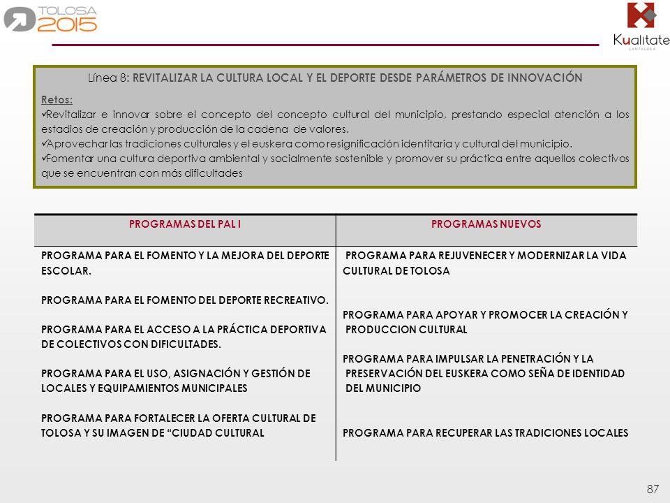 Línea 8: REVITALIZAR LA CULTURA LOCAL Y EL DEPORTE DESDE PARÁMETROS DE INNOVACIÓN