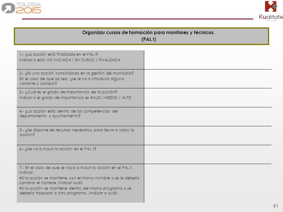 Organizar cursos de formación para monitores y técnicos.