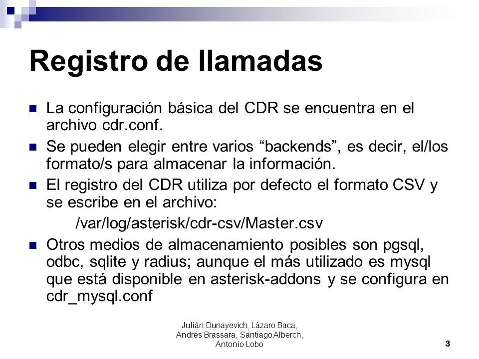 Registro de llamadas La configuración básica del CDR se encuentra en el archivo cdr.conf.