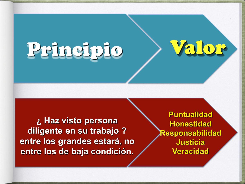 Valor Principio. Puntualidad. Honestidad. Responsabilidad. Justicia. Veracidad.