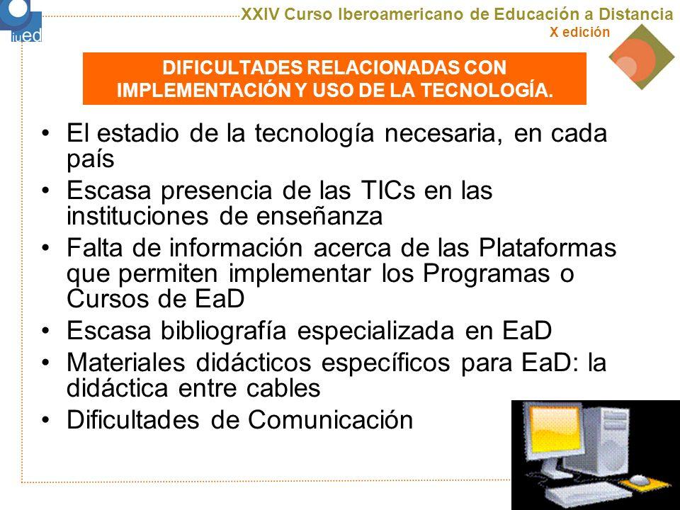 DIFICULTADES RELACIONADAS CON IMPLEMENTACIÓN Y USO DE LA TECNOLOGÍA.