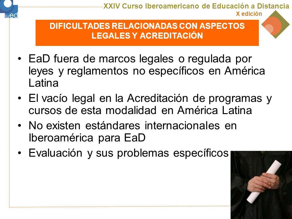 DIFICULTADES RELACIONADAS CON ASPECTOS LEGALES Y ACREDITACIÓN