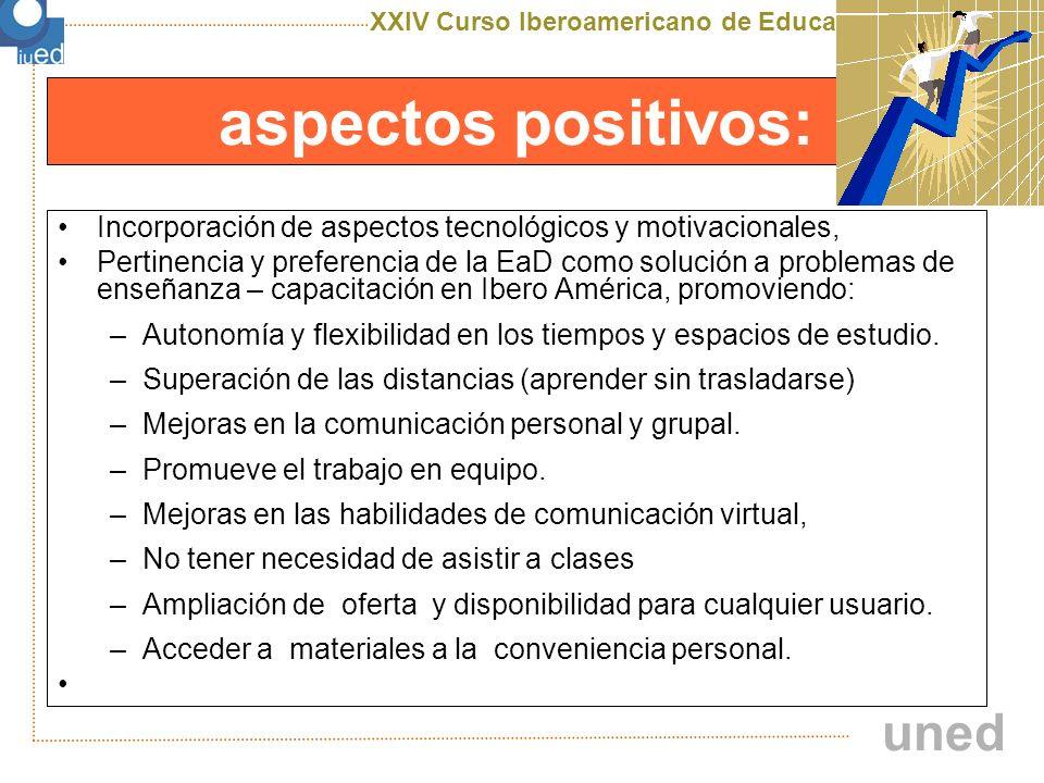 aspectos positivos: Incorporación de aspectos tecnológicos y motivacionales,
