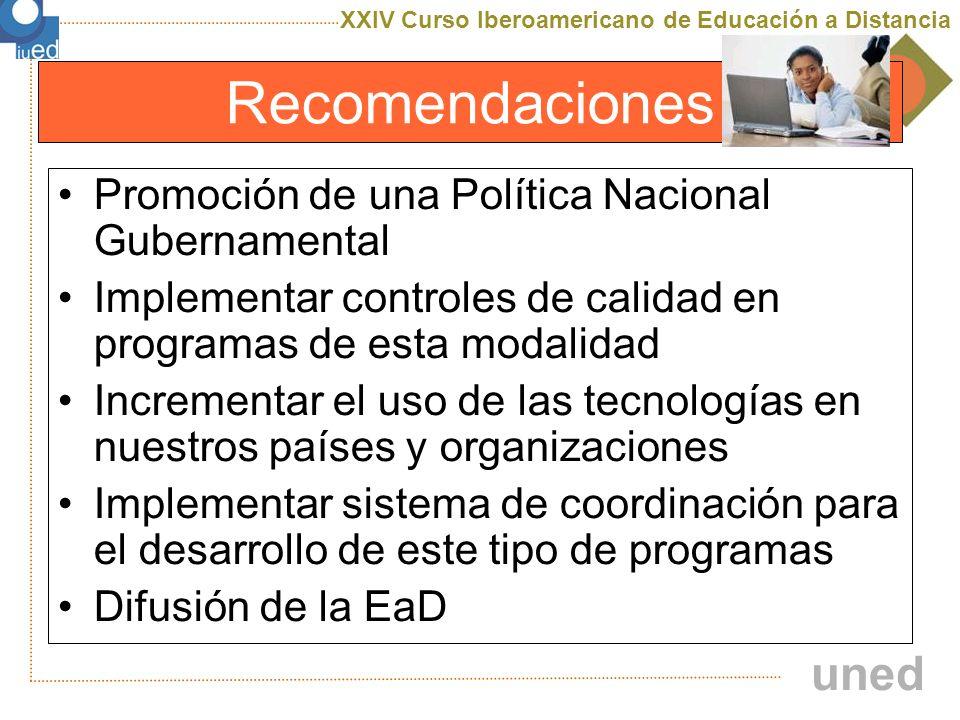 Recomendaciones Promoción de una Política Nacional Gubernamental