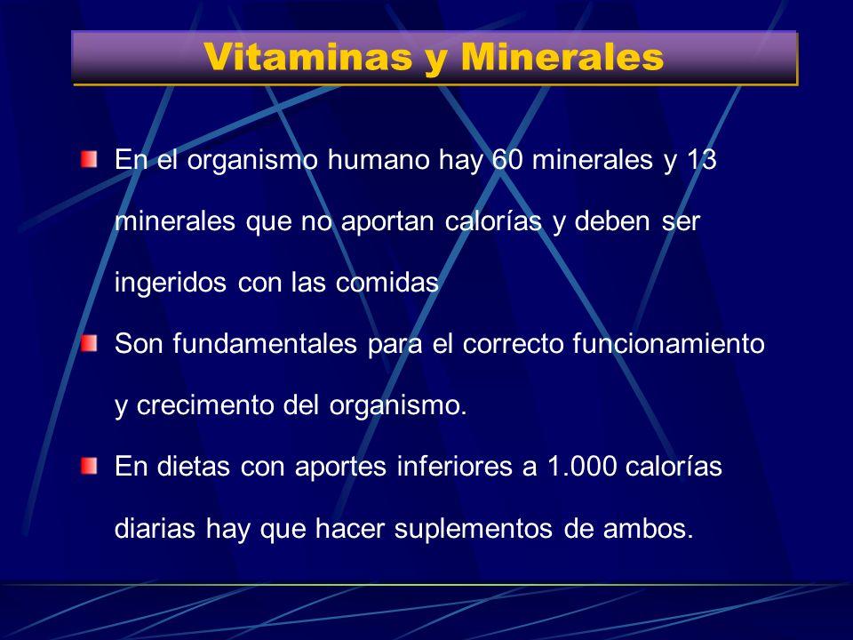 Vitaminas y MineralesEn el organismo humano hay 60 minerales y 13 minerales que no aportan calorías y deben ser ingeridos con las comidas.