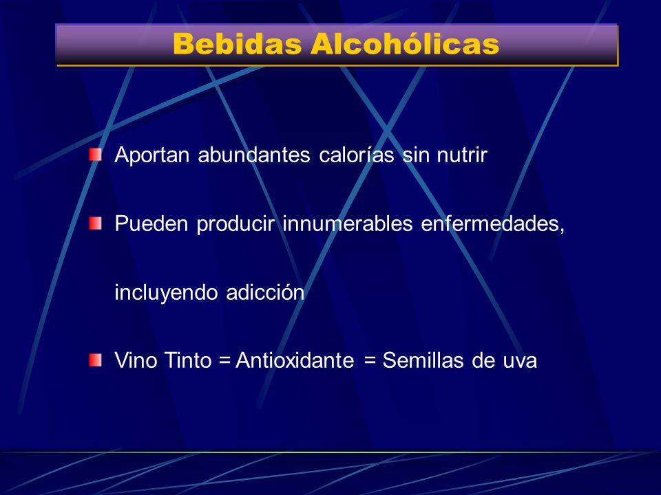 Bebidas Alcohólicas Aportan abundantes calorías sin nutrir