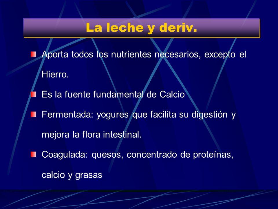 La leche y deriv.Aporta todos los nutrientes necesarios, excepto el Hierro. Es la fuente fundamental de Calcio.