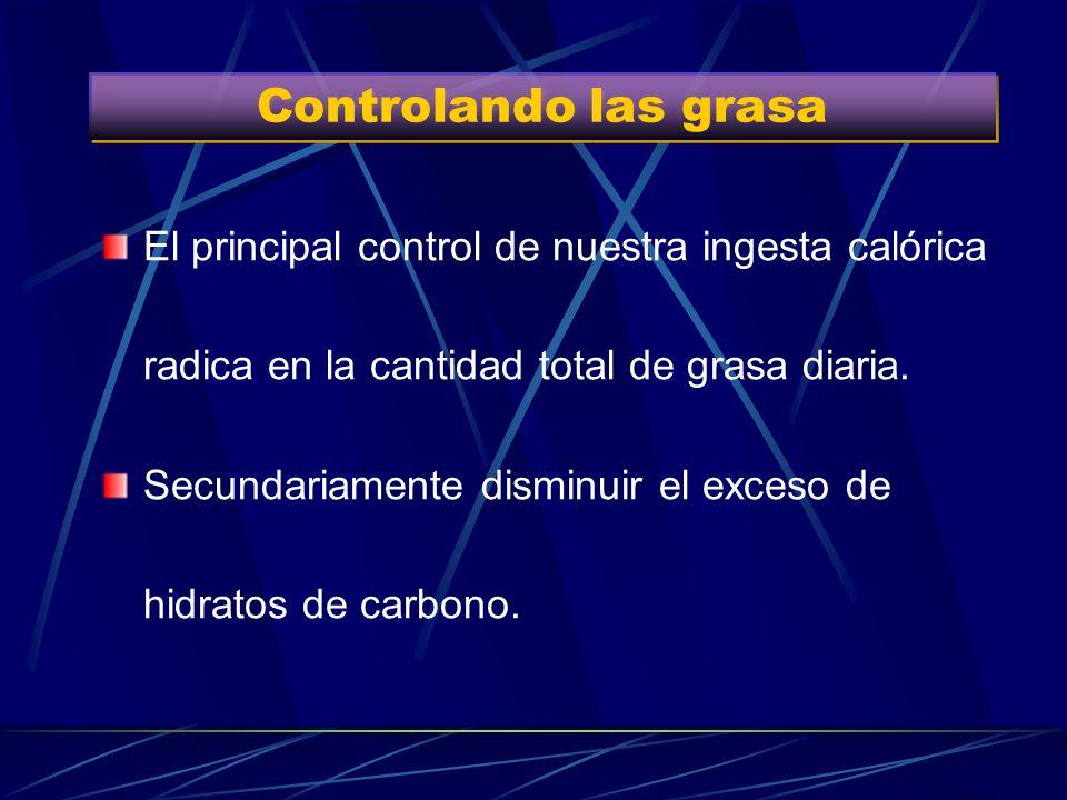Controlando las grasa El principal control de nuestra ingesta calórica radica en la cantidad total de grasa diaria.