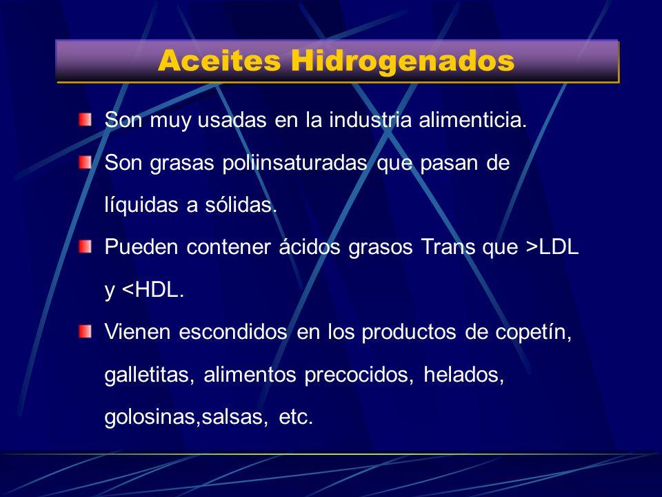 Aceites Hidrogenados Son muy usadas en la industria alimenticia.