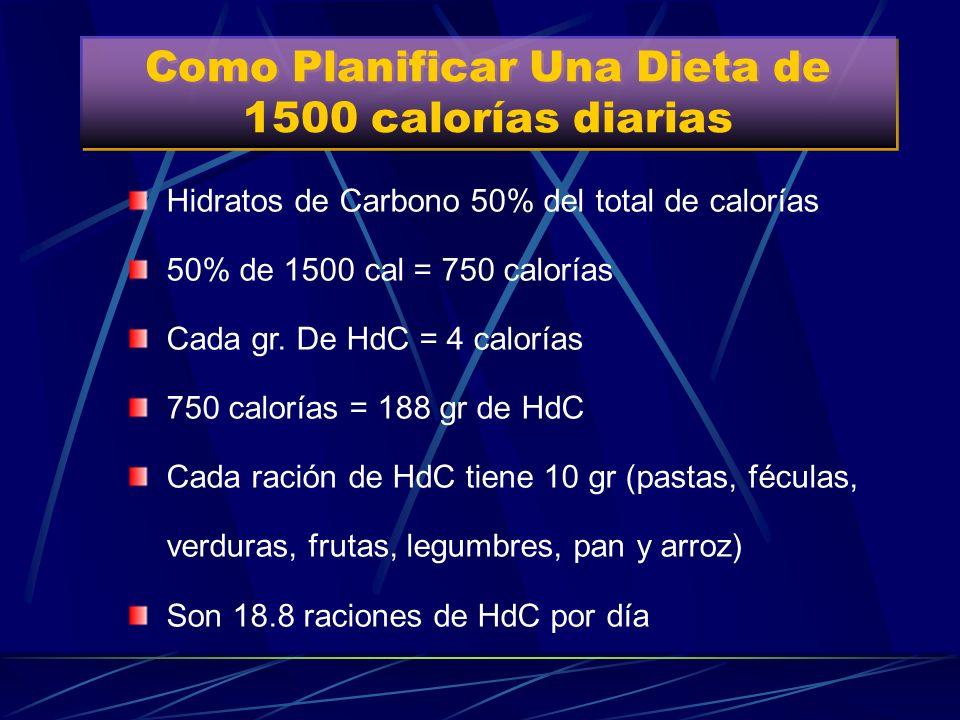 Como Planificar Una Dieta de 1500 calorías diarias
