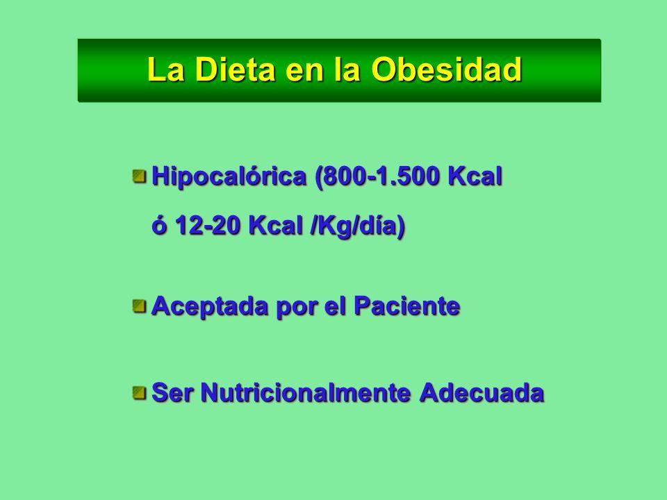 La Dieta en la Obesidad Hipocalórica (800-1.500 Kcal ó 12-20 Kcal /Kg/día) Aceptada por el Paciente.