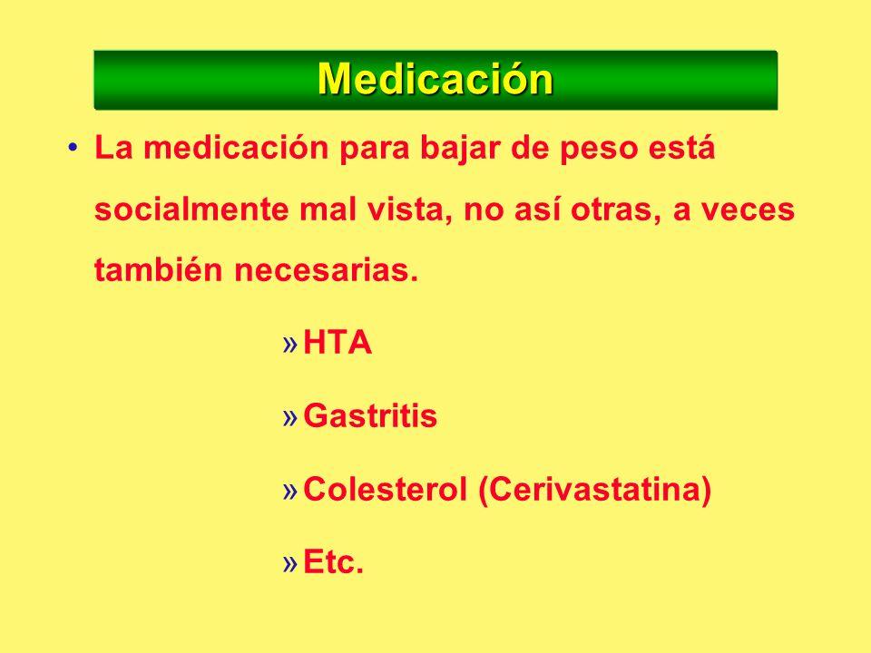 MedicaciónLa medicación para bajar de peso está socialmente mal vista, no así otras, a veces también necesarias.