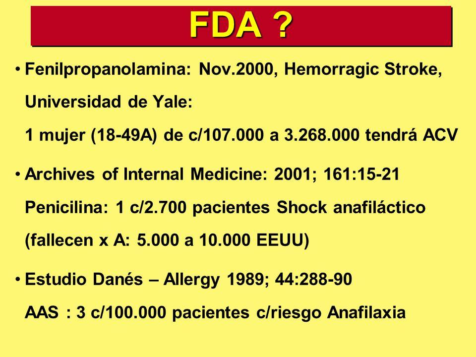 FDA Fenilpropanolamina: Nov.2000, Hemorragic Stroke, Universidad de Yale: 1 mujer (18-49A) de c/107.000 a 3.268.000 tendrá ACV.