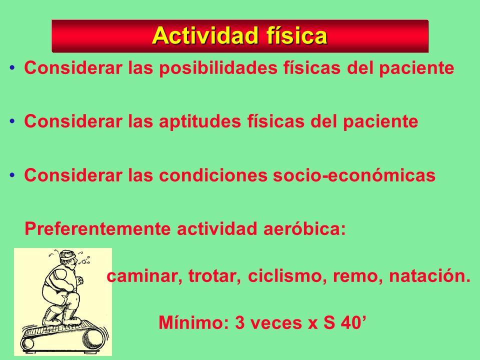 Actividad física Considerar las posibilidades físicas del paciente