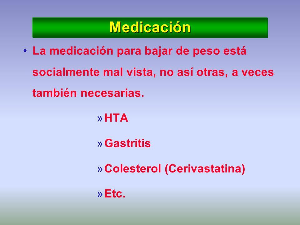 Medicación La medicación para bajar de peso está socialmente mal vista, no así otras, a veces también necesarias.
