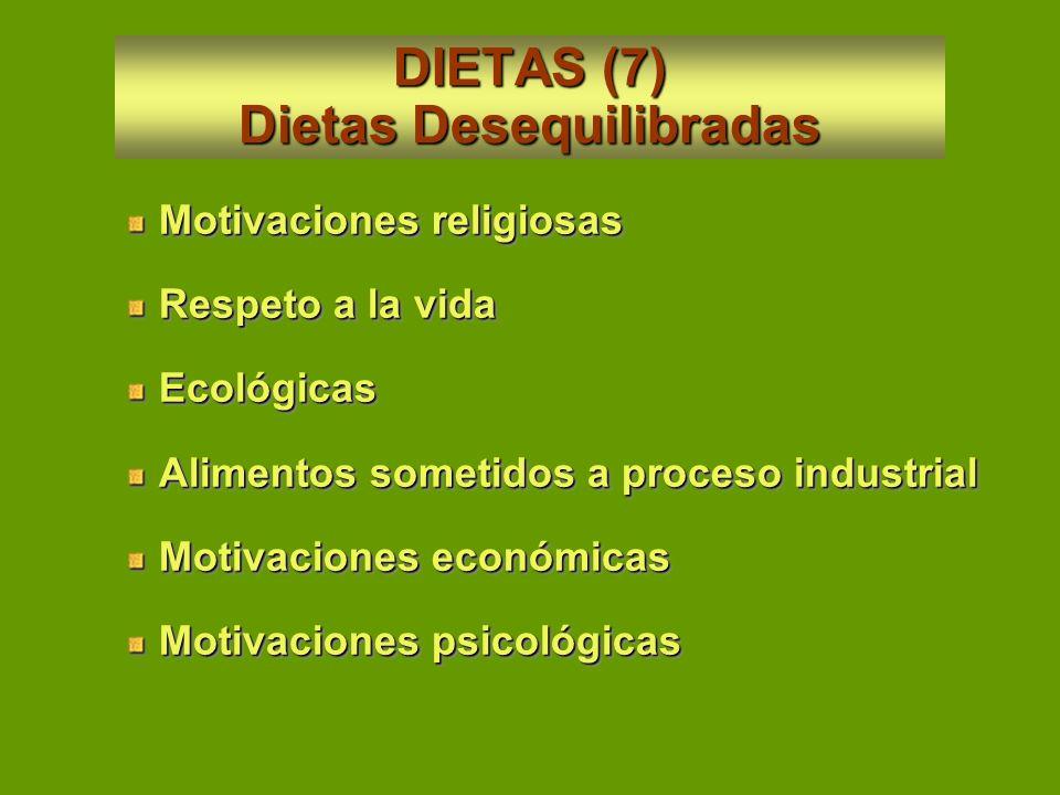 DIETAS (7) Dietas Desequilibradas
