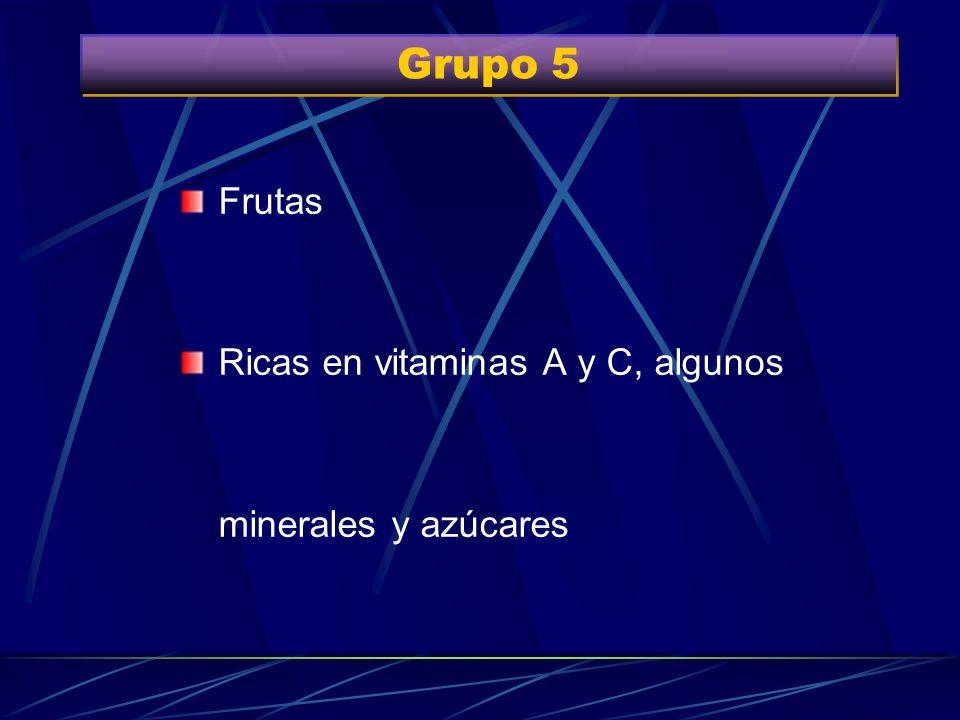 Grupo 5 Frutas Ricas en vitaminas A y C, algunos minerales y azúcares