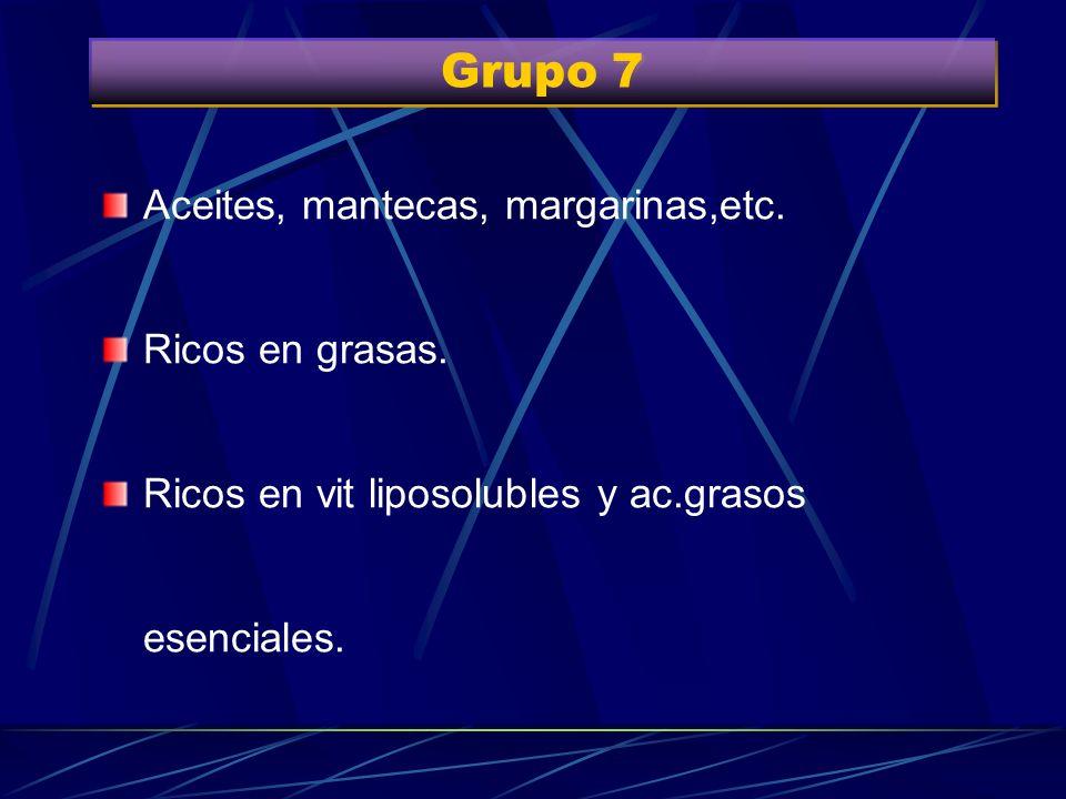 Grupo 7 Aceites, mantecas, margarinas,etc. Ricos en grasas.