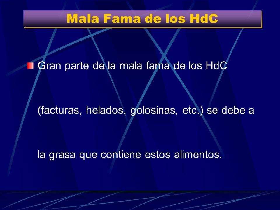 Mala Fama de los HdC Gran parte de la mala fama de los HdC (facturas, helados, golosinas, etc.) se debe a la grasa que contiene estos alimentos.
