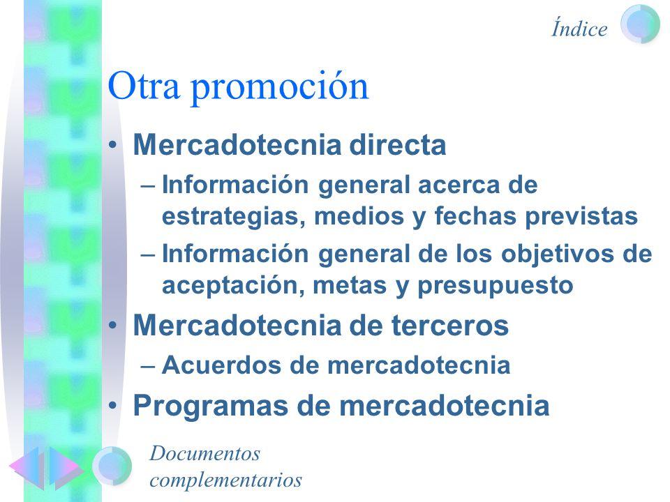 Otra promoción Mercadotecnia directa Mercadotecnia de terceros