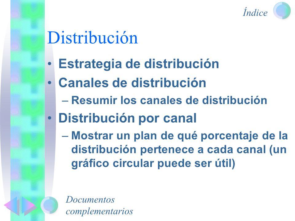 Distribución Estrategia de distribución Canales de distribución