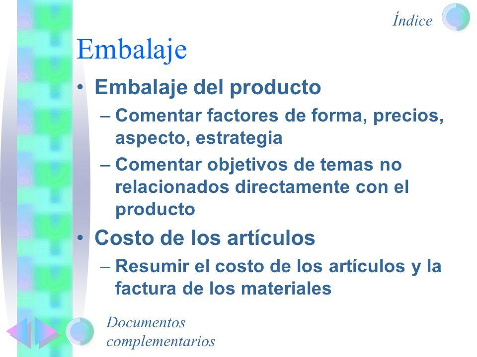 Embalaje Embalaje del producto Costo de los artículos