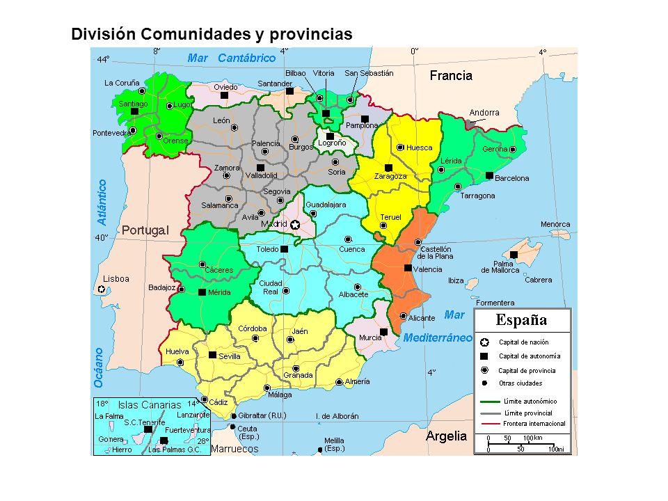 División Comunidades y provincias