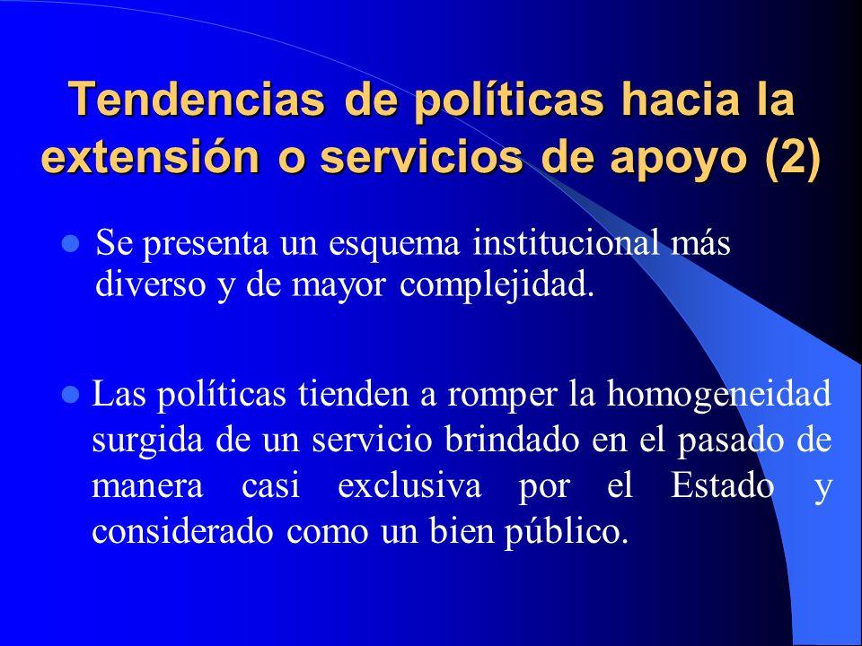 Tendencias de políticas hacia la extensión o servicios de apoyo (2)