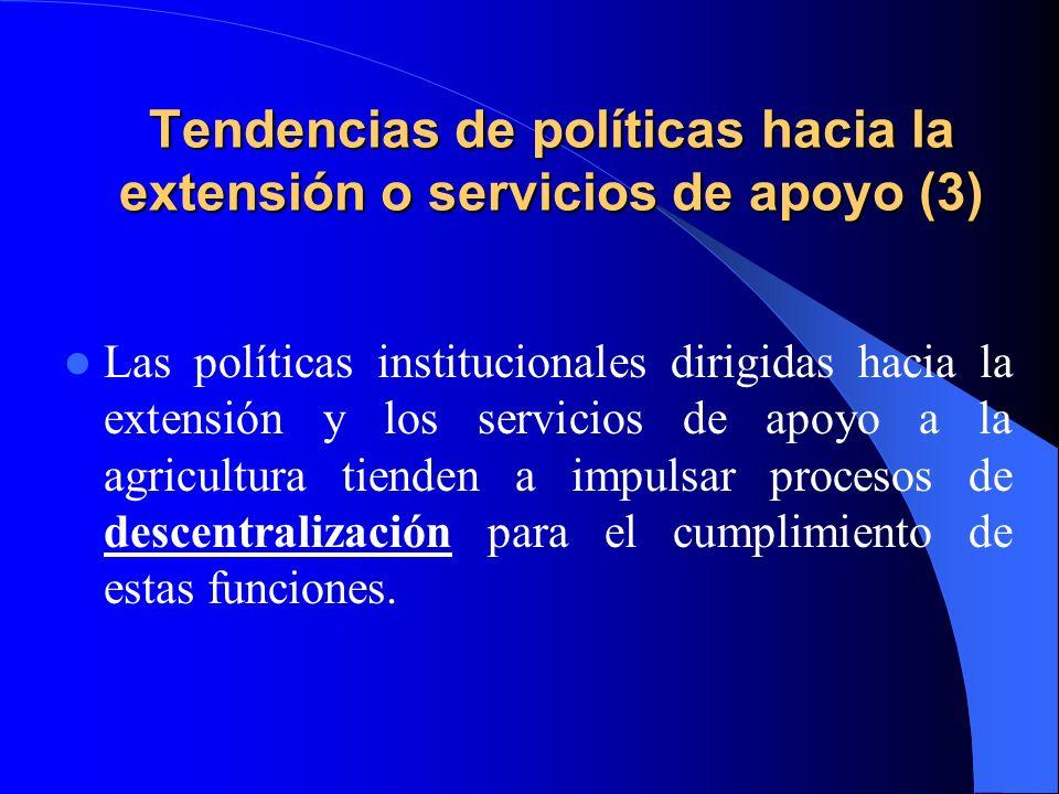 Tendencias de políticas hacia la extensión o servicios de apoyo (3)