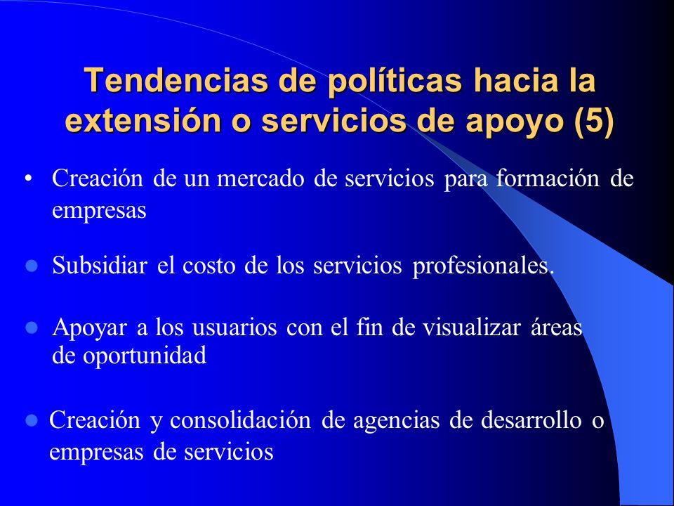Tendencias de políticas hacia la extensión o servicios de apoyo (5)