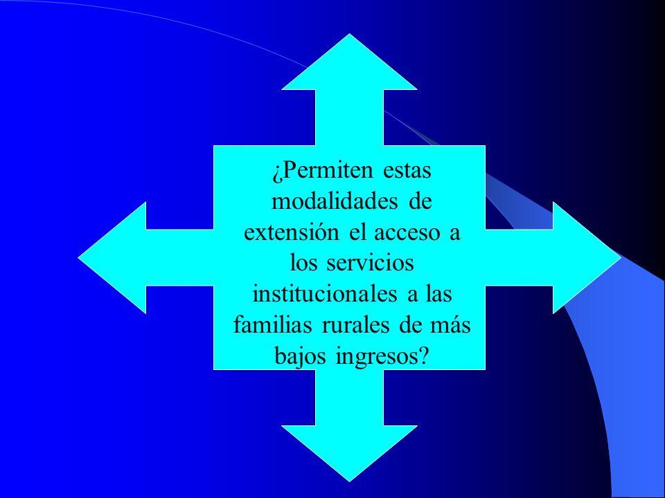 ¿Permiten estas modalidades de extensión el acceso a los servicios institucionales a las familias rurales de más bajos ingresos