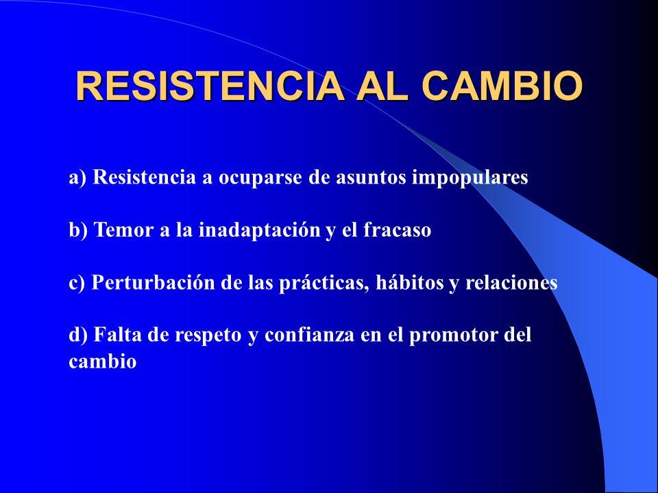 RESISTENCIA AL CAMBIO a) Resistencia a ocuparse de asuntos impopulares