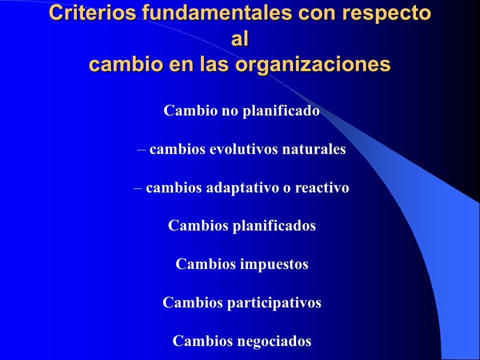 Criterios fundamentales con respecto al cambio en las organizaciones