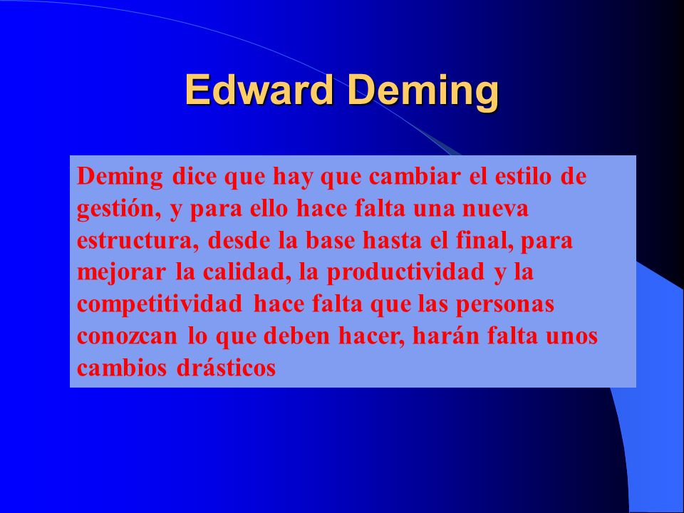 Edward Deming Deming dice que hay que cambiar el estilo de