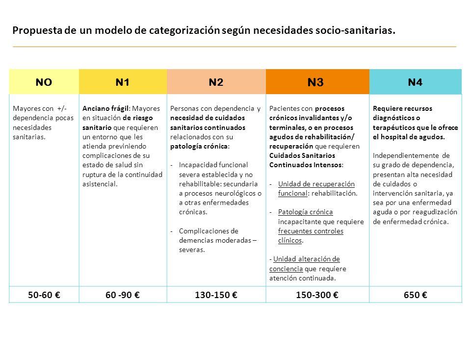 Propuesta de un modelo de categorización según necesidades socio-sanitarias.