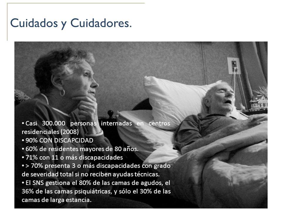 Cuidados y Cuidadores. Casi 300.000 personas internadas en centros residenciales (2008) 90% CON DISCAPCIDAD.