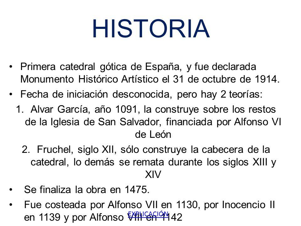 HISTORIA Primera catedral gótica de España, y fue declarada Monumento Histórico Artístico el 31 de octubre de 1914.