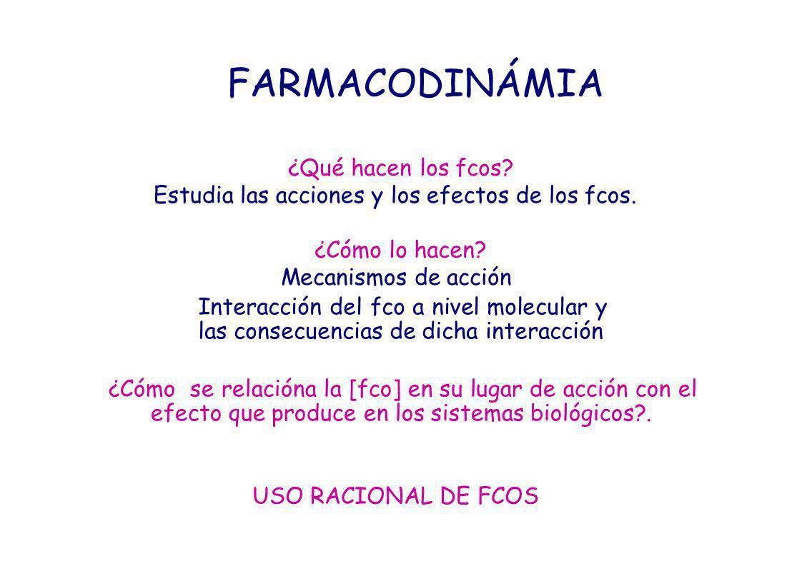 FARMACODINÁMIA ¿Qué hacen los fcos