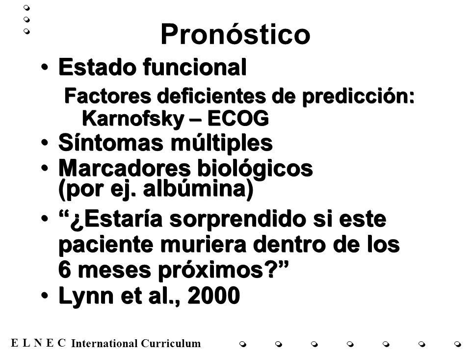 Pronóstico Estado funcional Síntomas múltiples