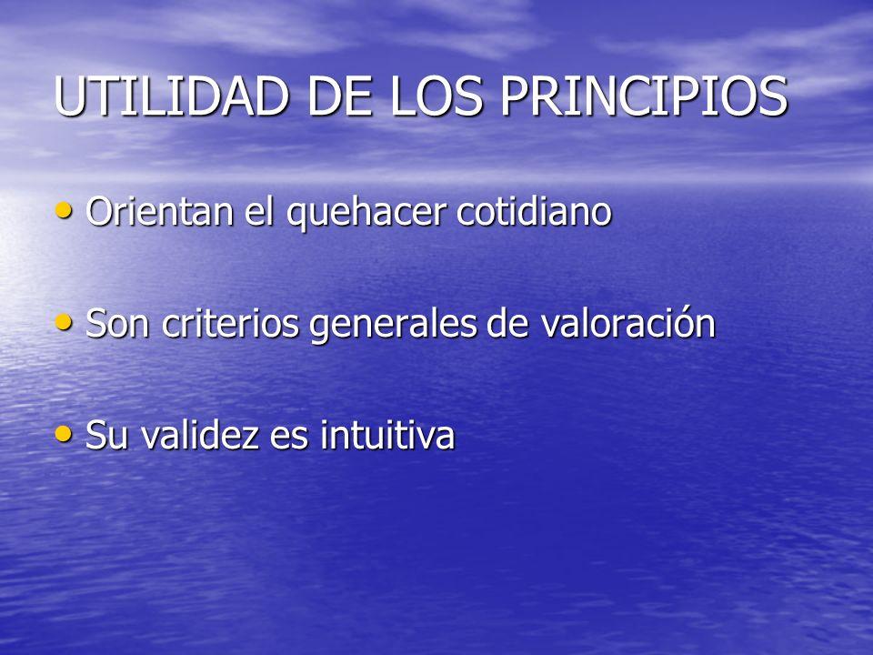 UTILIDAD DE LOS PRINCIPIOS