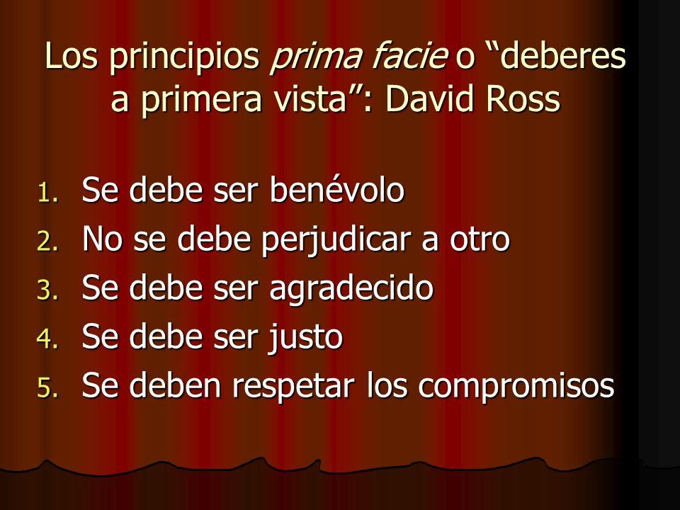 Los principios prima facie o deberes a primera vista : David Ross