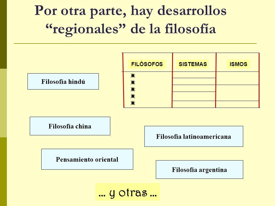 Por otra parte, hay desarrollos regionales de la filosofía