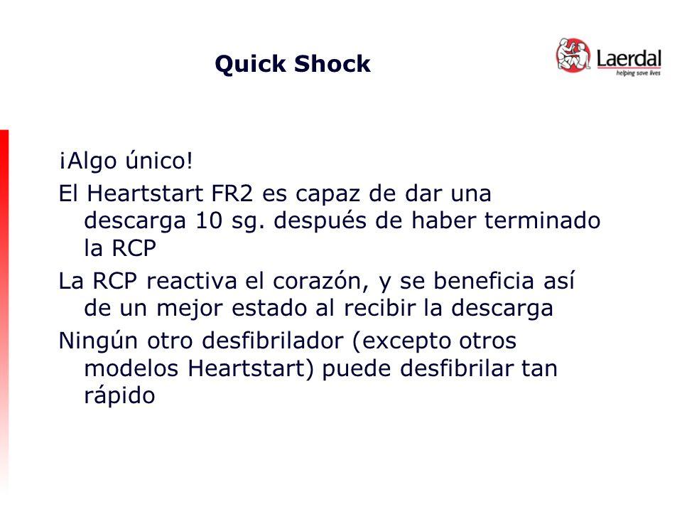 Quick Shock ¡Algo único! El Heartstart FR2 es capaz de dar una descarga 10 sg. después de haber terminado la RCP.