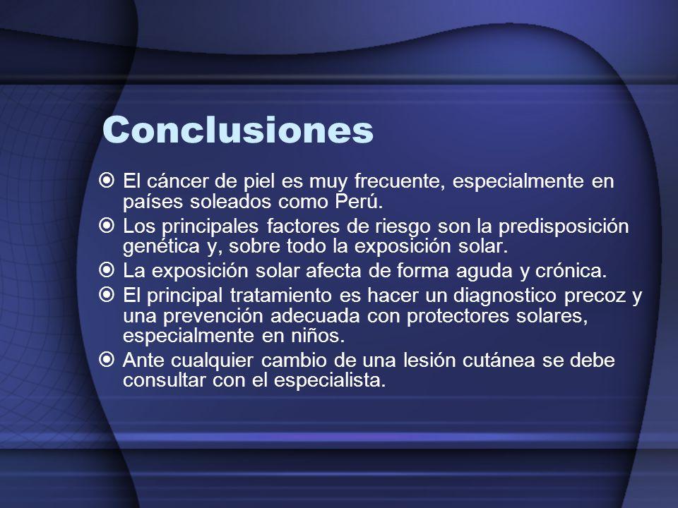 Conclusiones El cáncer de piel es muy frecuente, especialmente en países soleados como Perú.