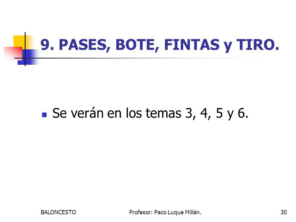 9. PASES, BOTE, FINTAS y TIRO.