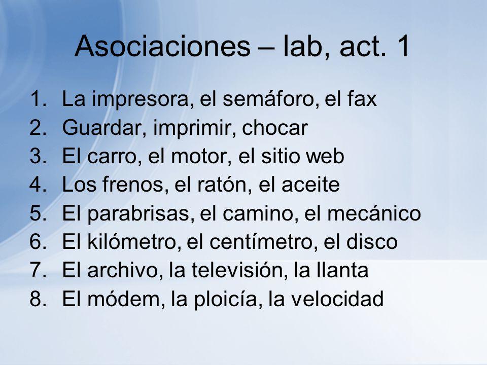 Asociaciones – lab, act. 1 La impresora, el semáforo, el fax